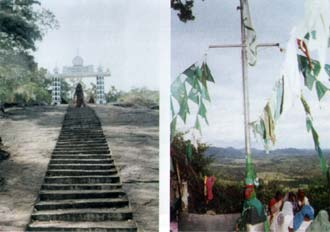 Left: Steps leading to Dafthar Jailani. Right: View of the Kaltota Plains.